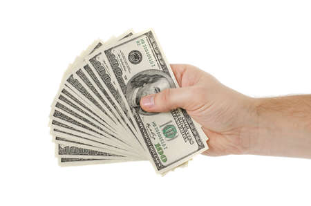 Man hand with dollars isolated on a white  photo