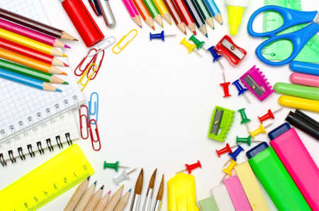 school things: School stationery framing for school and office Stock Photo