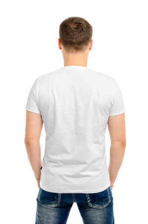 polo t shirt: Back white t-shirt on a young man isolated Stock Photo