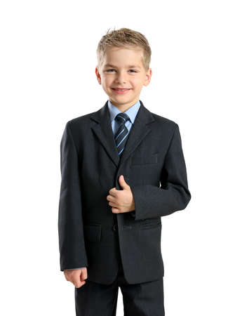 Portrait of little businessman isolated on white background photo