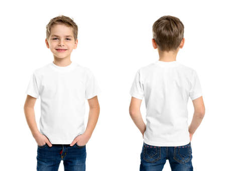White t-shirt on a young man isolated, front and back Stok Fotoğraf - 29117596