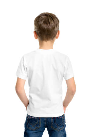 Back white T-shirt on a boy, isolated on white background photo