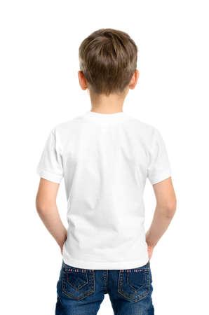 Back white T-shirt on a boy, isolated on white background