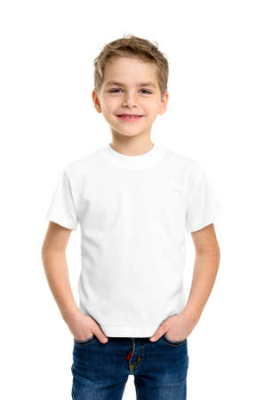 boy body: White T-shirt on a cute boy, isolated on white background