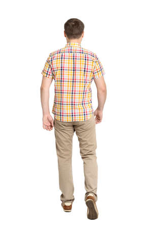 Back view of going handsome man in jeans and a shirt  walking young guy   Rear view people collection  backside view of person  Isolated over white background