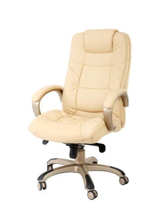 The office chair from beige leather isolated on white background photo