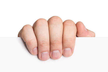 alzando la mano: Documento de explotaci�n de mano aisladas sobre fondo blanco