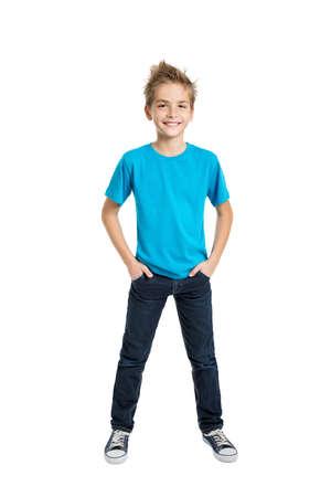 Portrait of happy joyful beautiful boy isolated on white background
