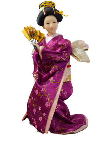 fashion doll: Japanese doll isolated over white