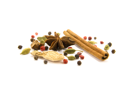 set of spices for mulled wine isolated of white background Stock Photo
