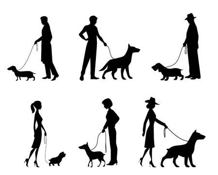 unrecognizable person: Vector illustration of a people silhouettes with dogs