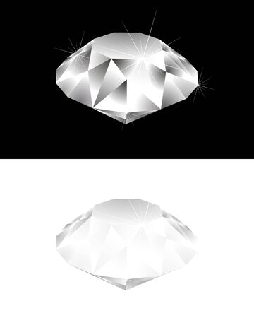 diamond shaped: Vector illustration of a diamond on black and white Illustration