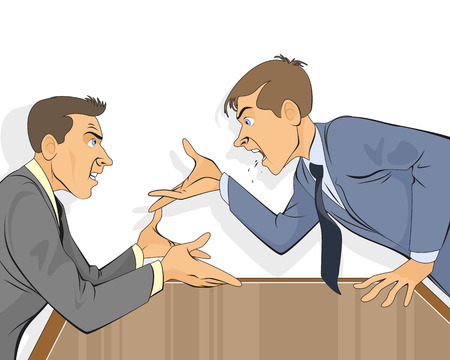 Vector illustration of a businessman dispute in office Stock Illustratie