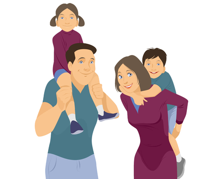 Vector illustration of a familys portrait on white Vector