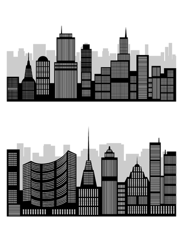 diminishing perspective: Vector illustration of a silhouette of the city