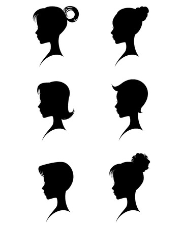 long black hair: Vector illustration of a silhouettes head girls