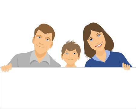 children face: Vector illustration image of the family holding a banner Illustration