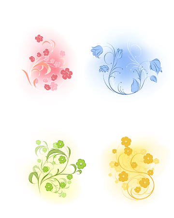 ilustration and painting: Vector illustration of a four flowers set Illustration