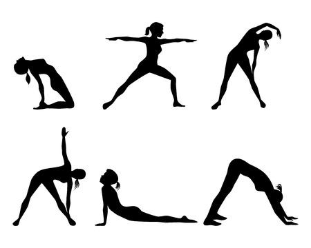 Vector illustration of a girl involved in fitness Stock Illustratie