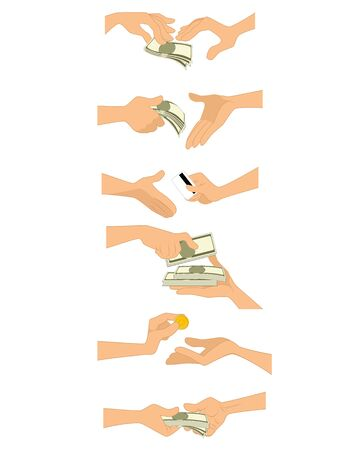 exchanging: Vector illustration of a hands with money
