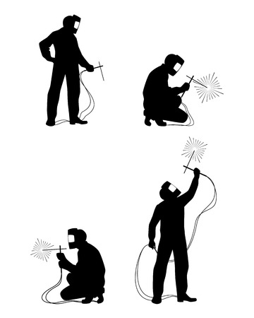 Vector illustration of a four welders silhouettes Stock Illustratie