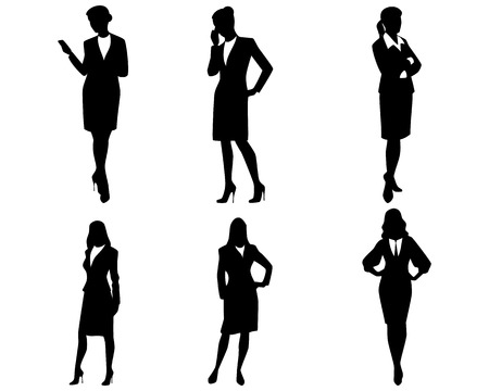 business woman: Vector illustration of a four businesswoman silhouettes Illustration