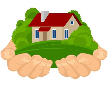 holiday villa: Vector illustration of a house in hands Illustration