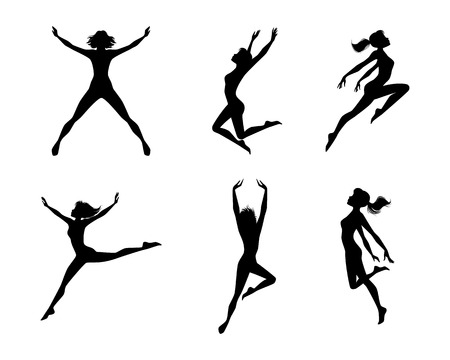 woman jump: Vector illustration of a jumping girls silhouettes