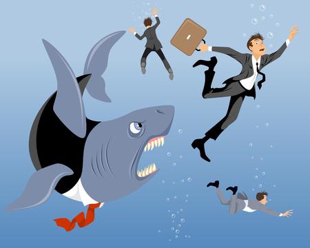 big business: Ilustraci�n vectorial de un gran tibur�n negocio Vectores