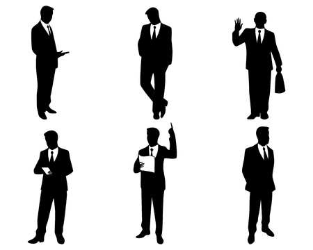 Vector illustration of a six businessman silhouettes 免版税图像 - 39466754