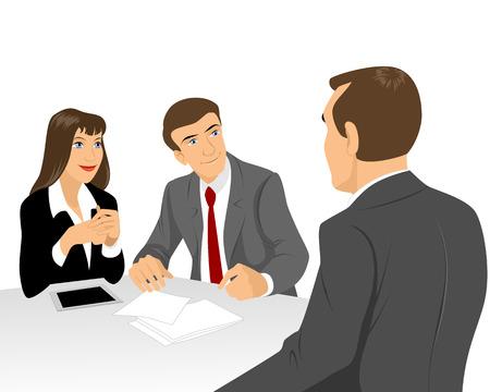 Vector illustration of a businessmen at negotiating table Stock Illustratie