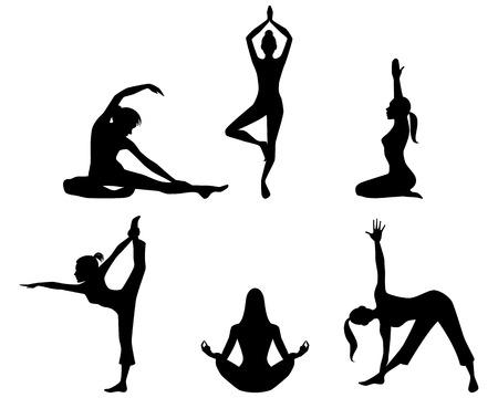 Vector illustratie van een meisjes beoefenen van yoga silhouetten Stock Illustratie