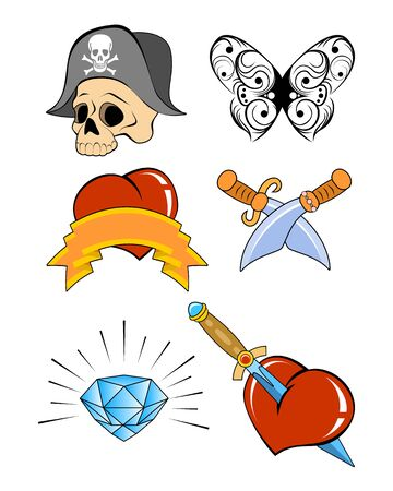 Vector illustration of a six tattoo set Vector