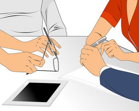 business team: Vector illustration of a business team conversation