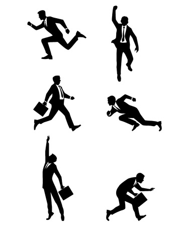 sneaks: Vector illustration of a businessmen jumping and running