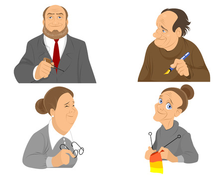 happy older couple: Vector illustration of a older people portraits