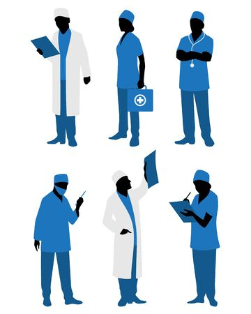 Vector illustration of a six doctors in uniform Ilustração