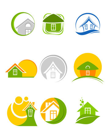 tranquil scene on urban scene: Vector illustration of a nine logos set