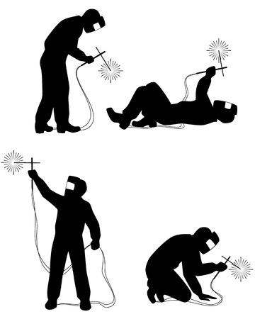 soldadura: Vector ilustraci�n de un siluetas soldadores establecido