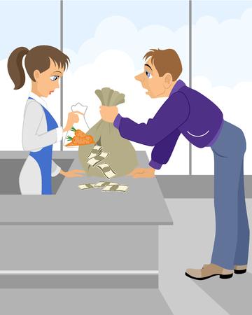 Vector illustration of a depreciation of money - concept Vector Illustration