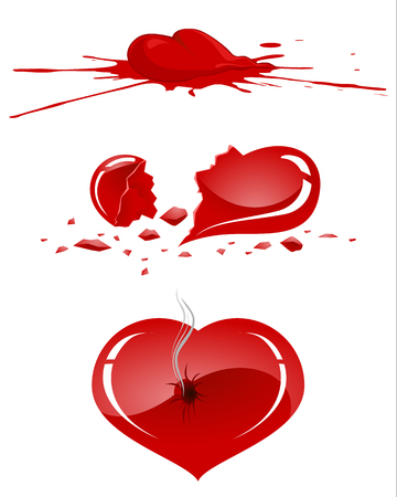 wounded heart: Vector illustration of a damaged human heart
