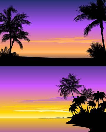 Vector illustration of a sunset on beach Stock Illustratie