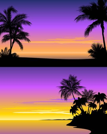 Vector illustration of a sunset on beach Ilustração