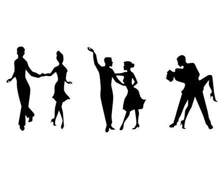 pareja bailando: Ilustración vectorial de un baile de tres parejas
