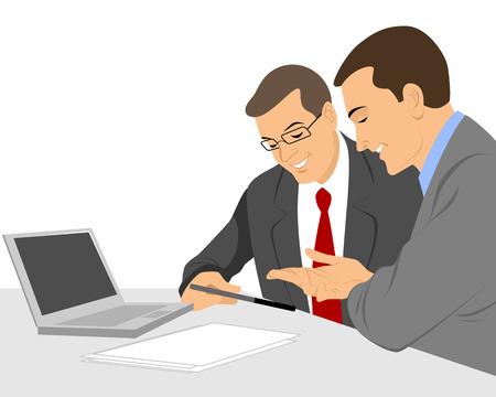 gente sentada: Ilustraci�n vectorial de un dos hombres de negocios hablando