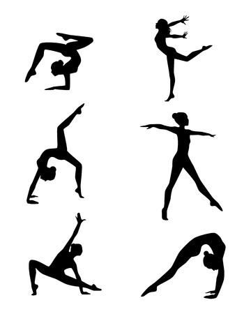 gimnasia: Ilustración vectorial de un seis gimnastas siluetas conjunto