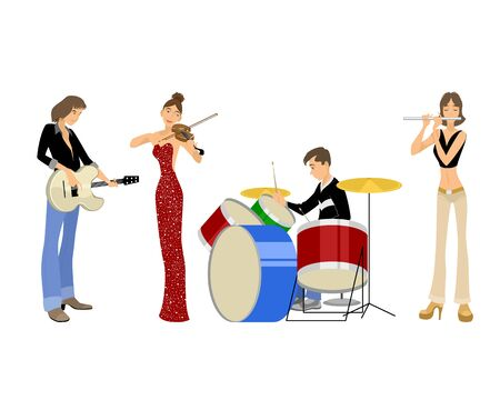 Vector illustration of a four teenagers musicians