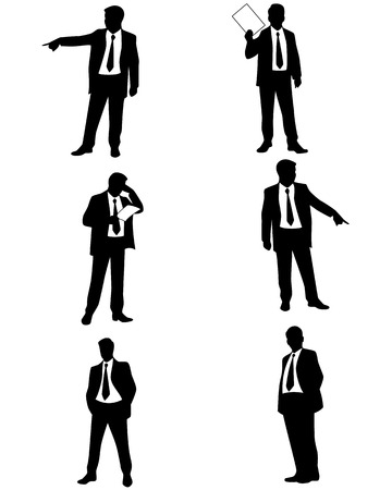 Vector illustration of a six businessman silhouettes Imagens - 39466907