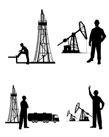 Vector illustration of a silhouette oilman background in infrastructure 免版税图像 - 39466904