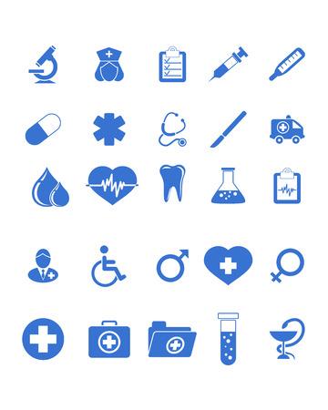 Ilustración vectorial de iconos de un médico establecido Foto de archivo - 39466914